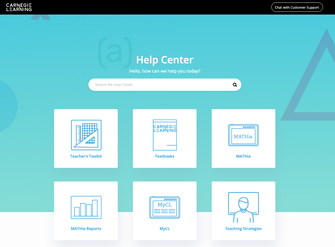 New Help Center homepage