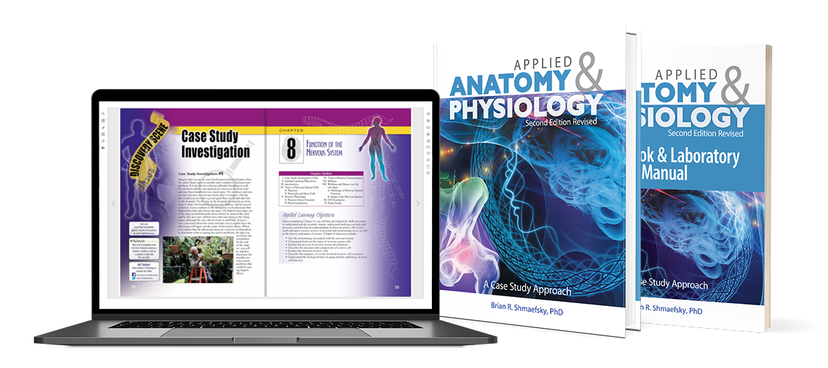 Applied Anatomy and Physiology second edition textbook, lab manual, and digital resources