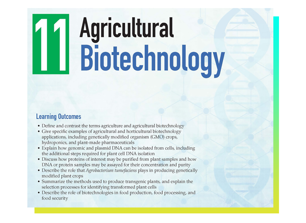 Agricultural Biotechnology instruction in Biotechnology program