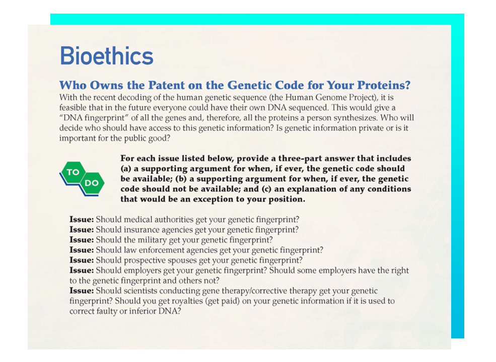 Bioethics instruction in Biotechnology program