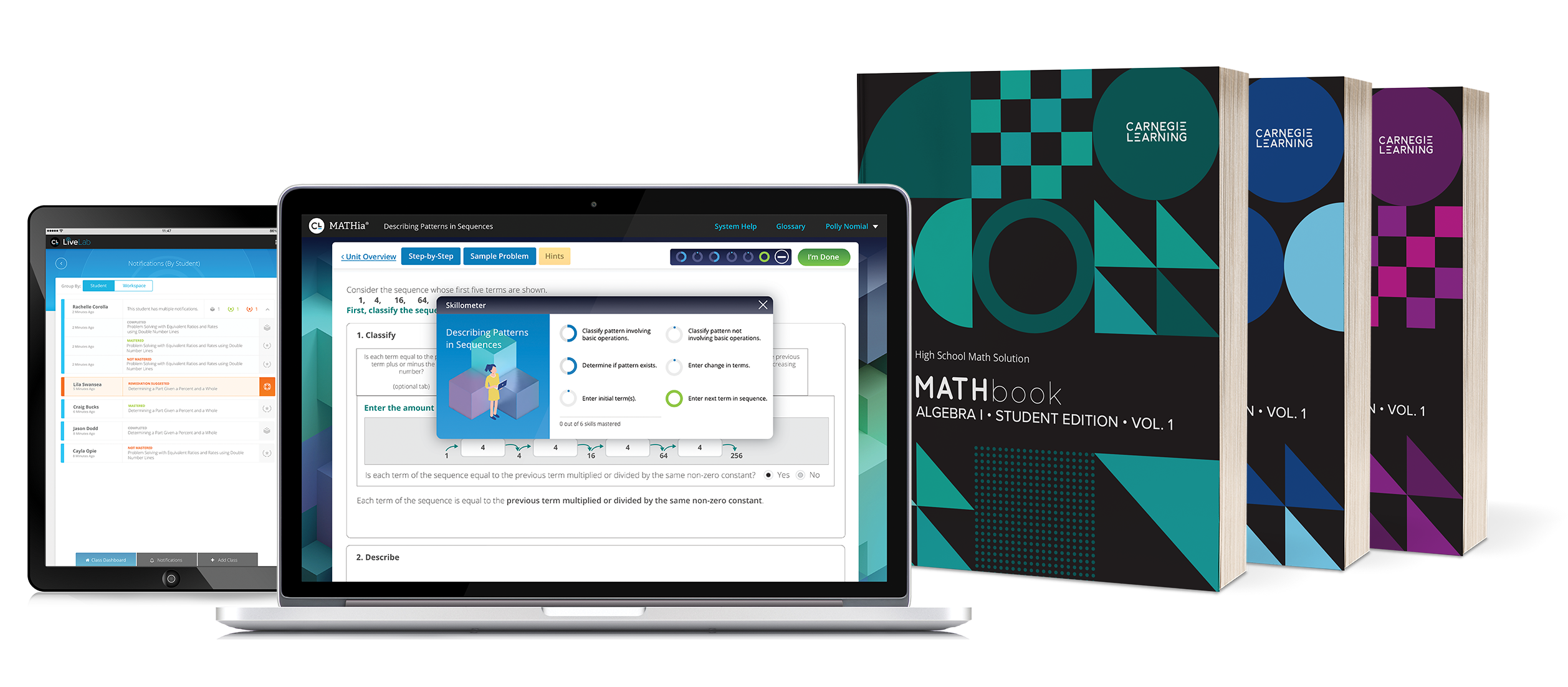 High School Math Solution textbooks with MATHia workspace and LiveLab