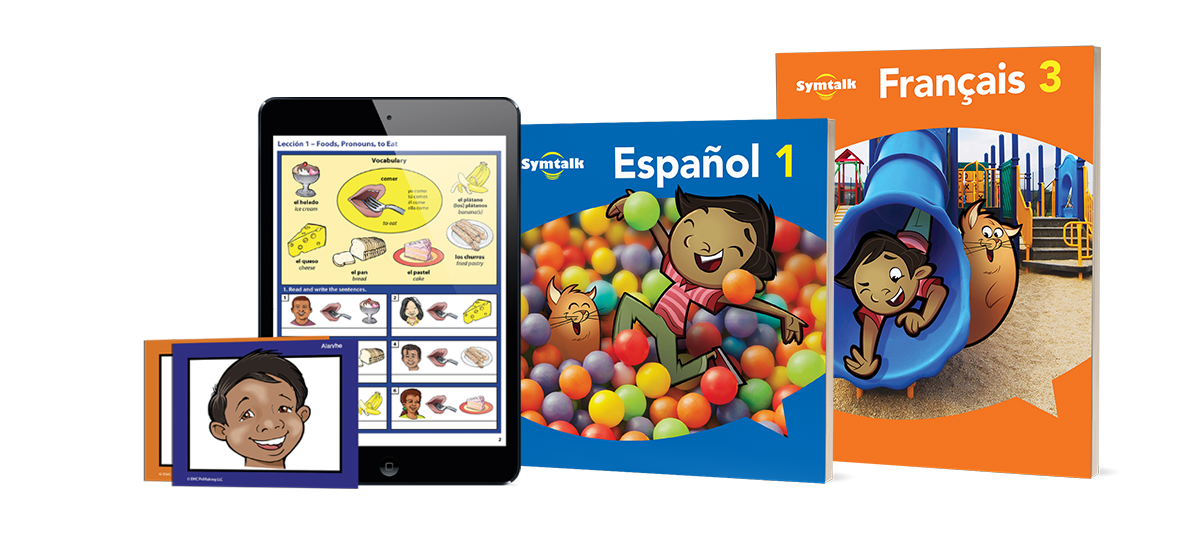 Symtalk visual language learning program components for Spanish and French