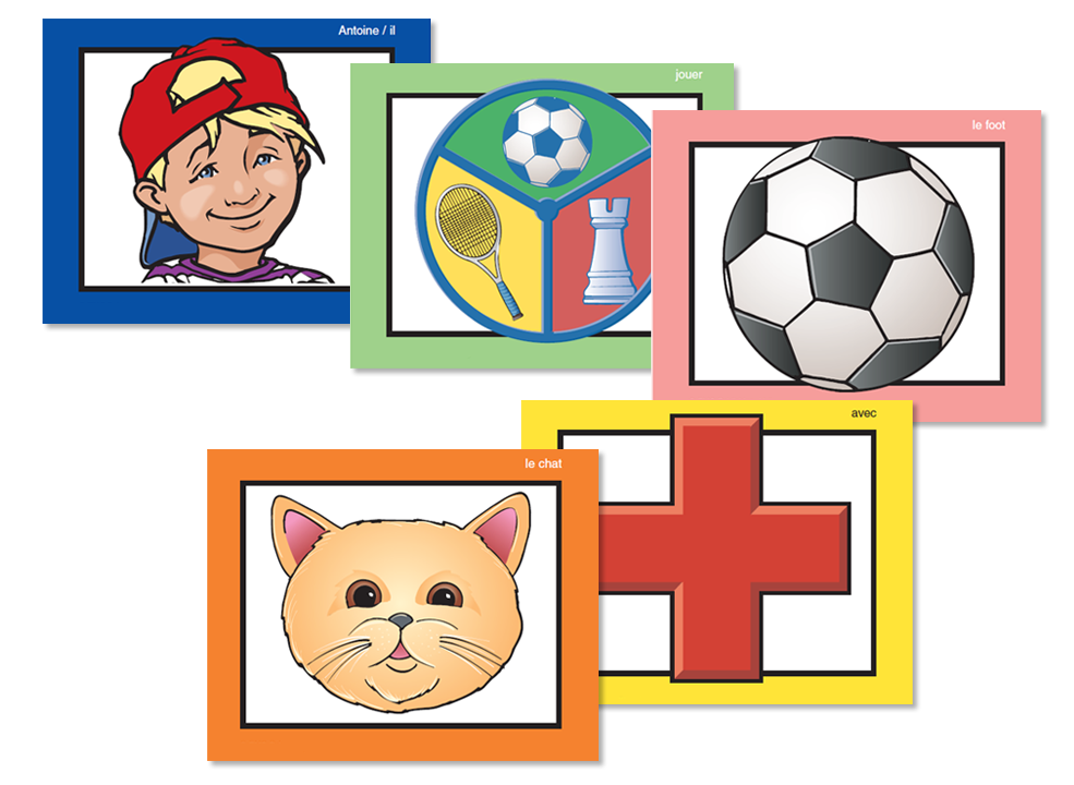 Symbol cards in Symtalk program including boy with hat, socceer, cat, medical, and more